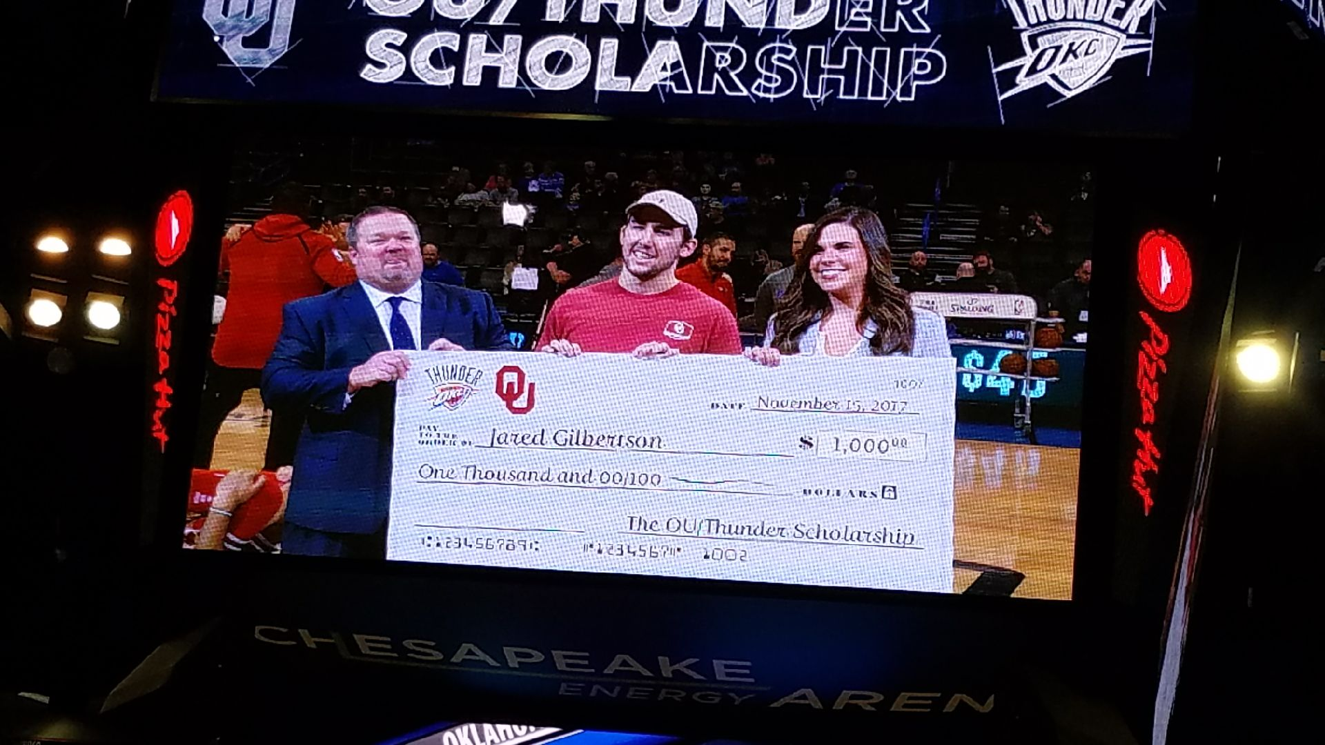 Jared Gilbertson receives $1000 scholarship