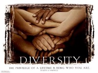 Many diverse hands overlapping each other.